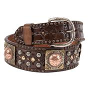 Double J Mens Brown Silver Copper Stud Yellow Crystal Belt