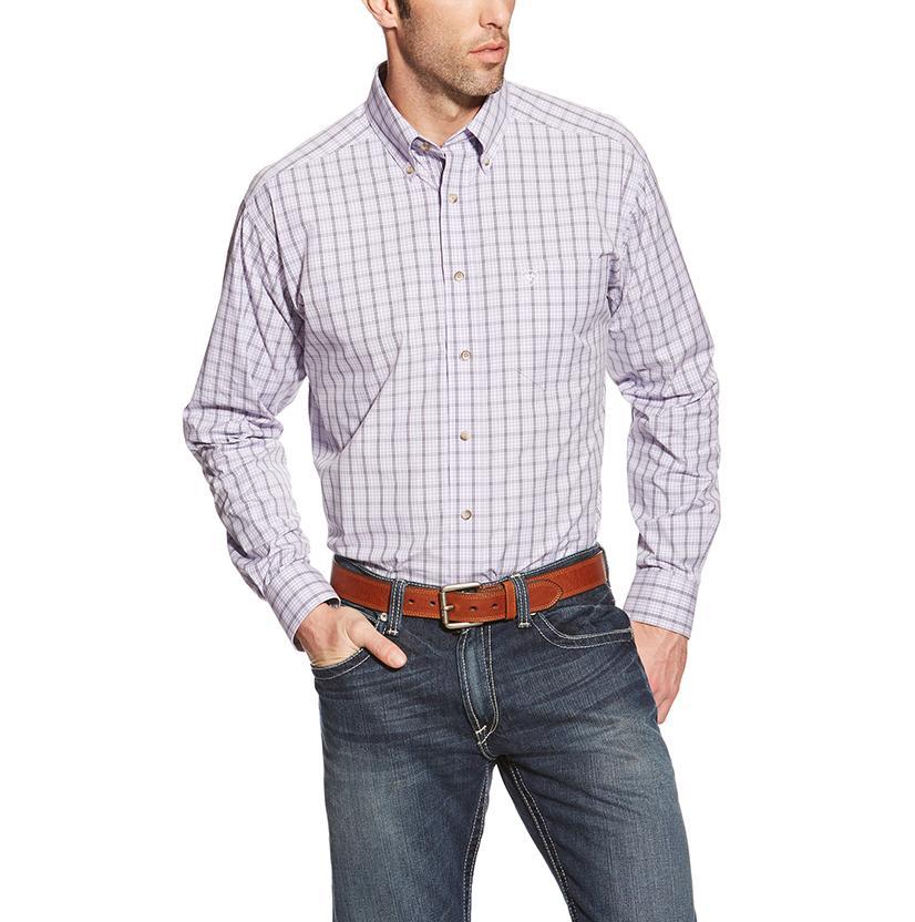 Ariat Mens Pro Series Lavender Plaid Western Shirt