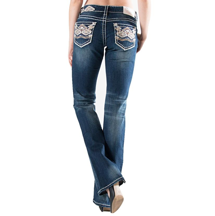 Charme Womens Jeans With Tribal Stitching