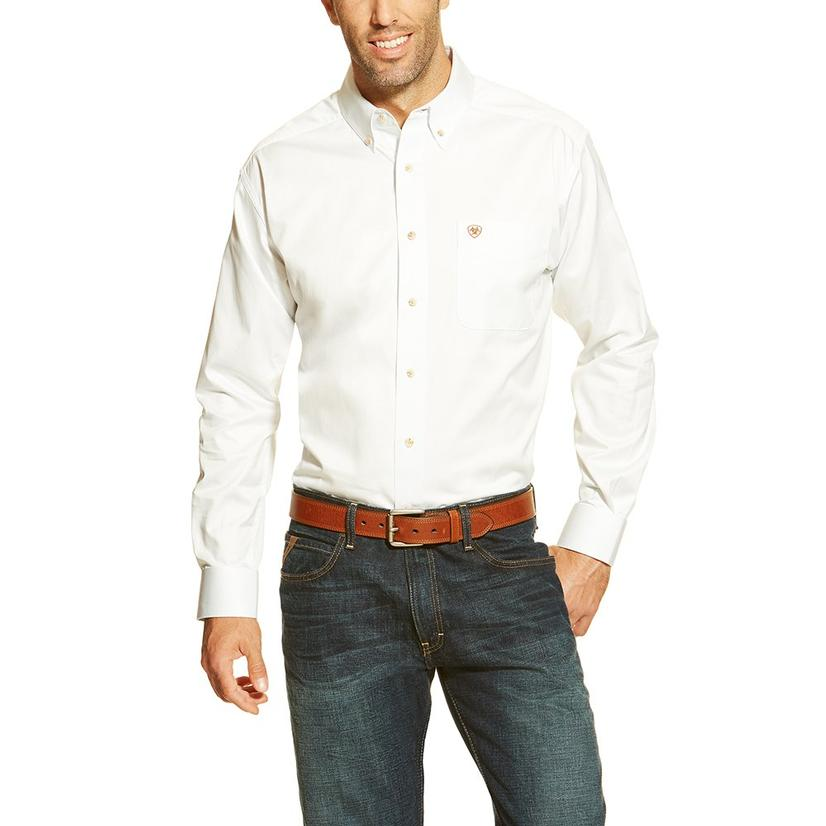 Ariat Mens White Long Sleeve Button Down Shirt