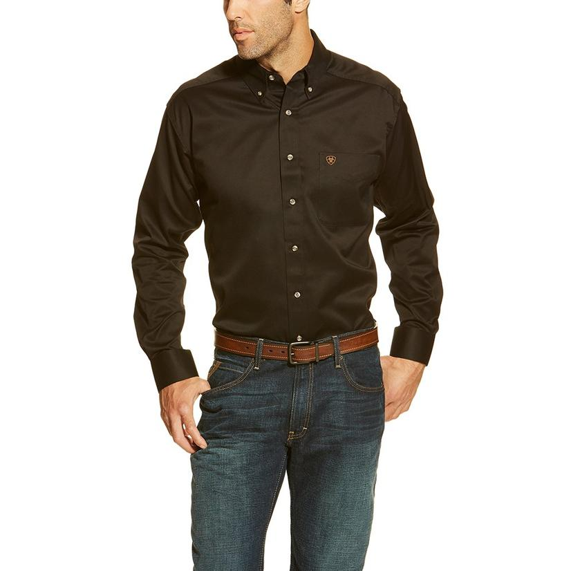 Ariat Mens Black Long Sleeve Button Down Shirt
