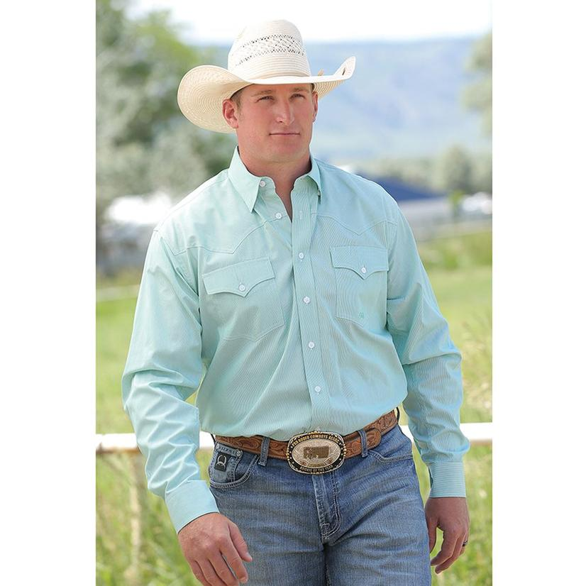 Miller Ranch Mens Green/White Western Shirt