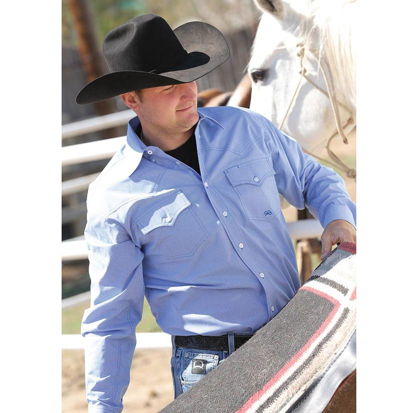 Miller Ranch Mens Western Shirt - Chambray Blue