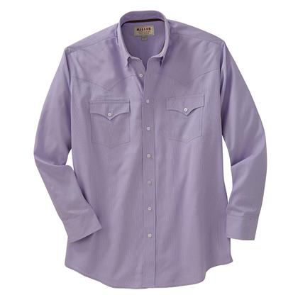 Miller Ranch Mens Western Button Shirt - Purple/White