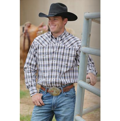 Miller Ranch Mens Brown Plaid Western Shirt