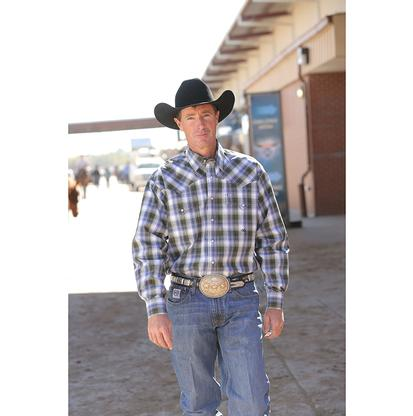 Miller Ranch Mens Western Shirt - Navy/Black Plaid