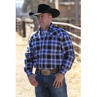 Miller Ranch Mens Western Shirt - Purple/Black Plaid