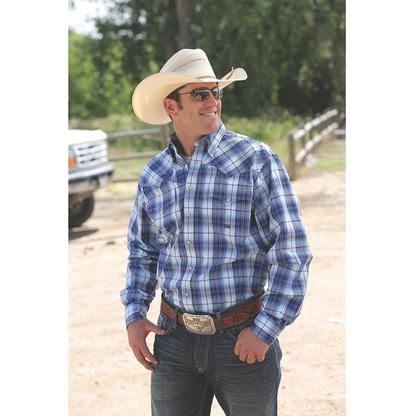 Miller Ranch Mens Western Shirt - Blue Plaid
