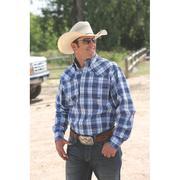 Miller Ranch Mens Western Shirt - Blue Plaid