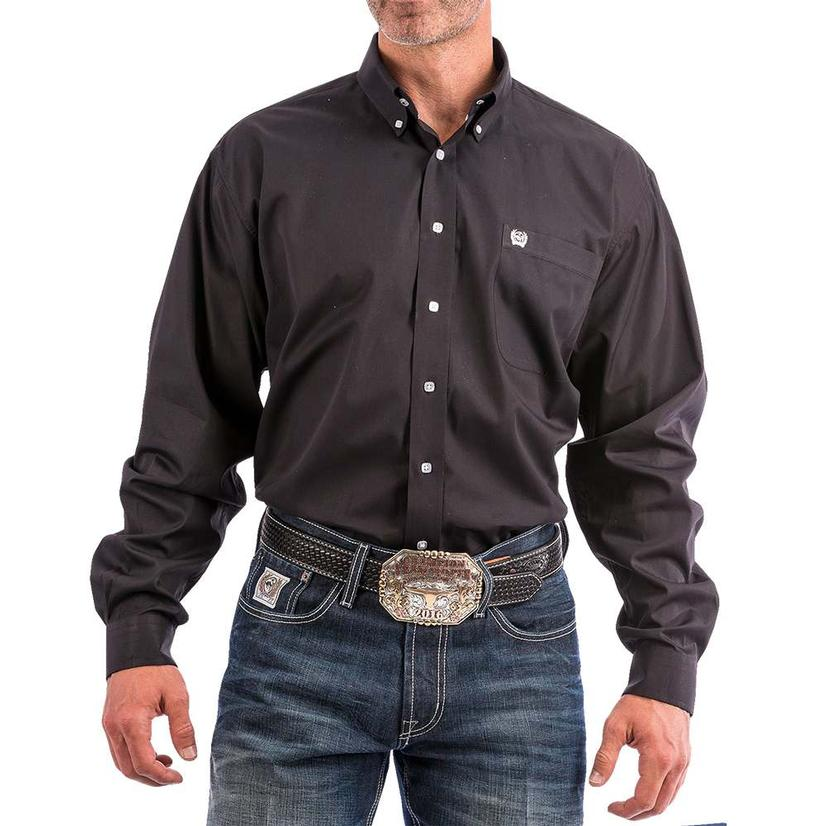 Cinch Mens Solid Black Long Sleeve