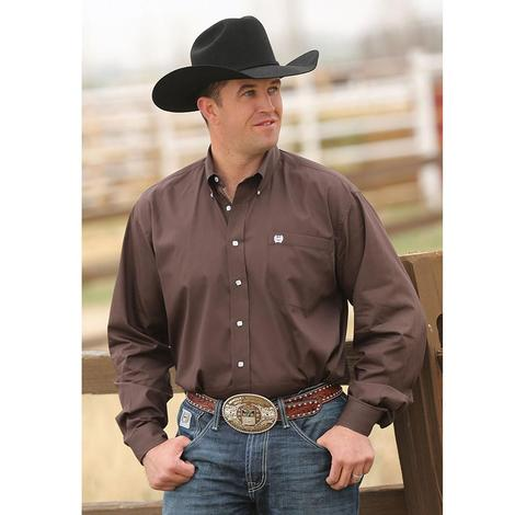 Cinch Mens Solid Brown Long Sleeve
