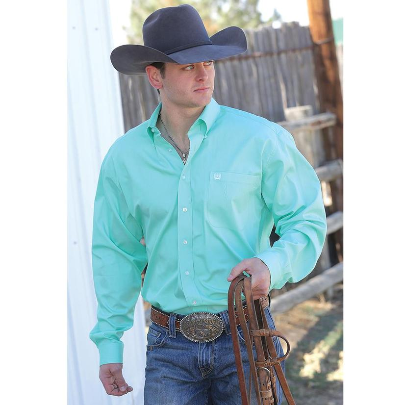 Cinch Mens Solid Green Long Sleeve