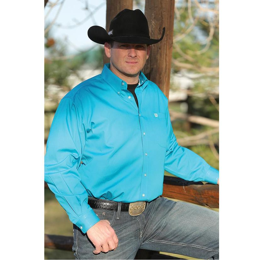 Cinch Mens Solid Teal Long Sleeve