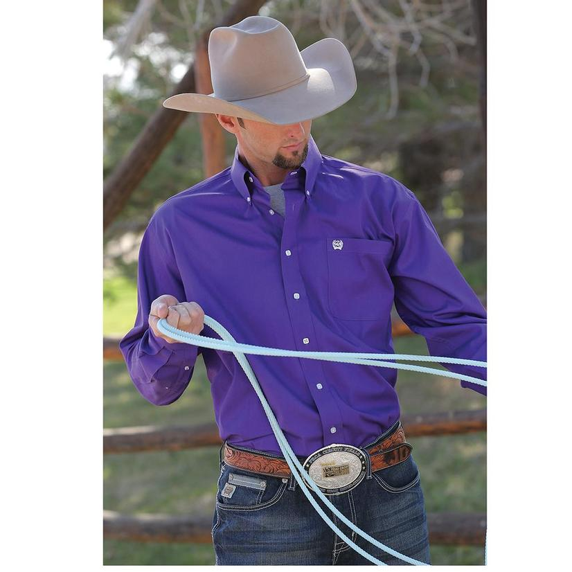 Cinch Mens Solid Purple Long Sleeve