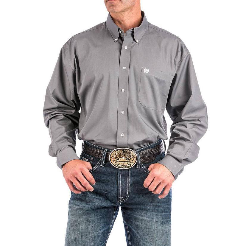 Cinch Mens Solid Long Sleeve - Grey - Xxxl