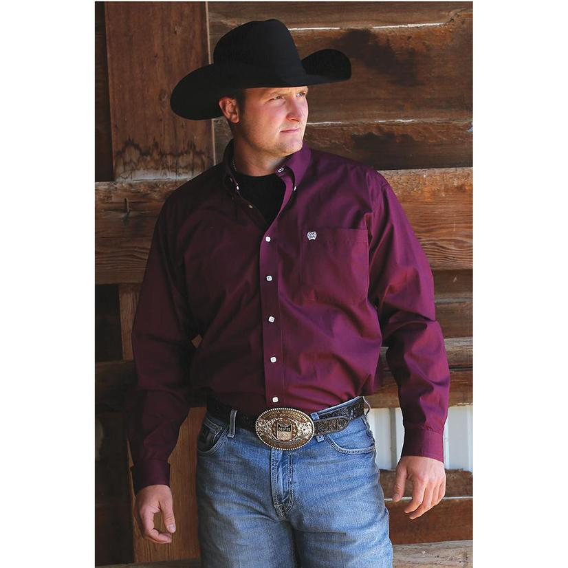 Cinch Mens Solid Long Sleeve - Burgundy