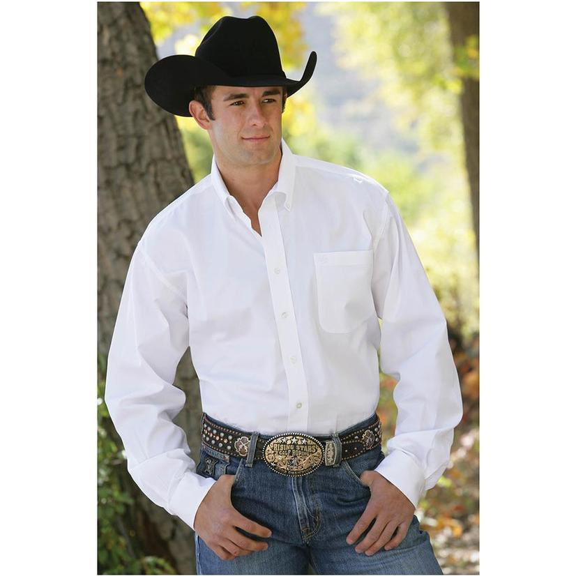 Cinch Mens Solid White Long Sleeve