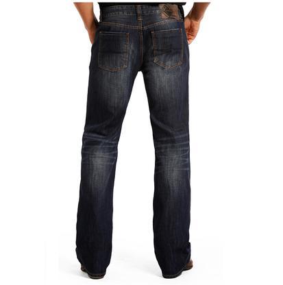 Rock n' Roll Cowboy Mens Double Barrel Straight Leg Jeans - Dark Vintage