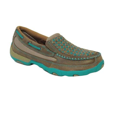 Twisted X Womens Driving Mocs Bomber/Turquoise