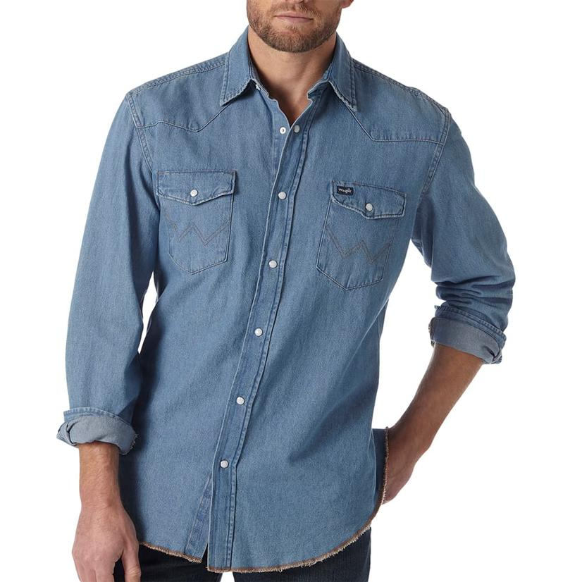 Wrangler Mens Denim Work Western Shirt - Large Tall