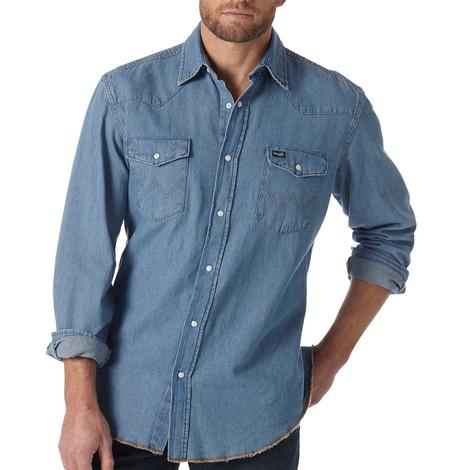 Wrangler Mens Denim Work Western Shirt - Large Tall