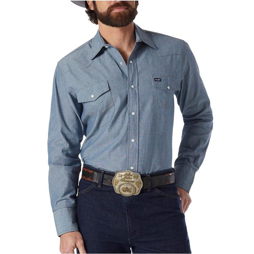 Wrangler Mens Work Western Shirts - Chambray