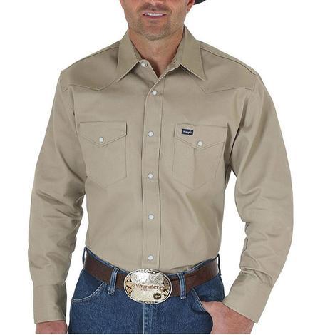 Wrangler Mens Solid Twill  Work Western Shirt