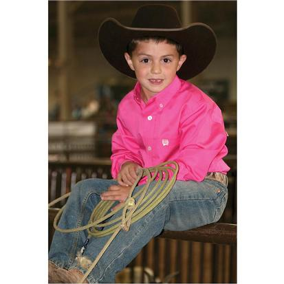 Cinch Boys Solid Show Shirt - Hot Pink