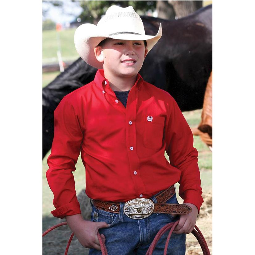 Cinch Boys Solid Show Shirt - Red