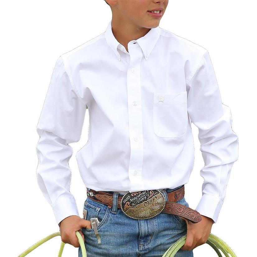 Cinch Boys Solid Show Shirt - White