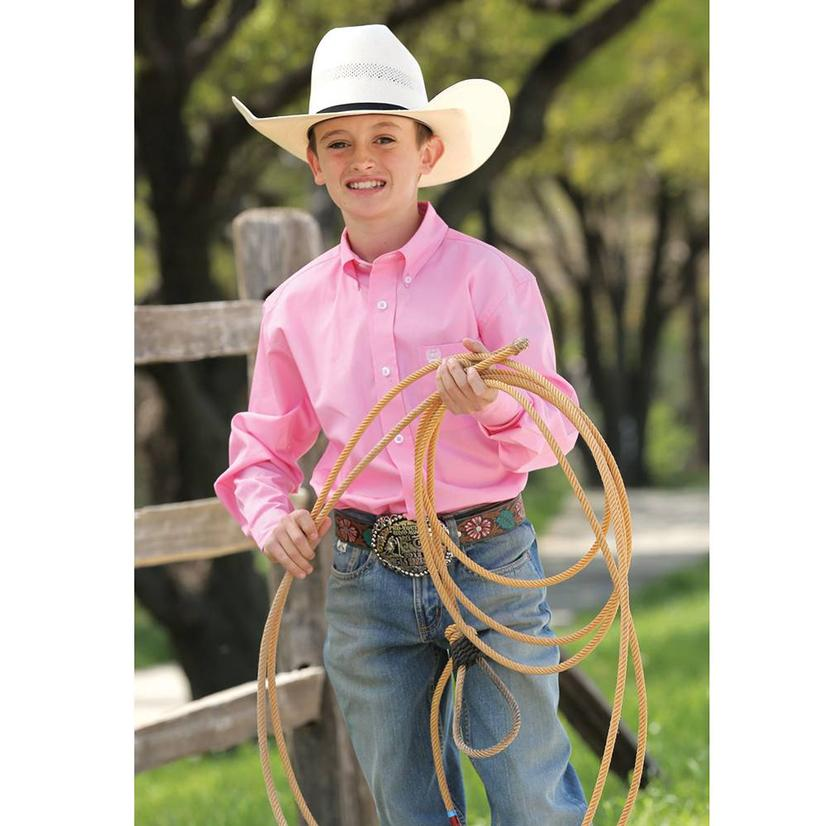 Cinch Boys Solid Show Shirt - Pink