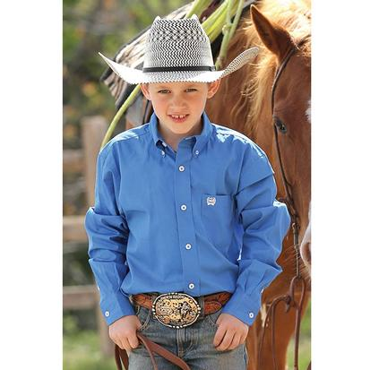 Cinch Boys Solid Show Shirt - Blue