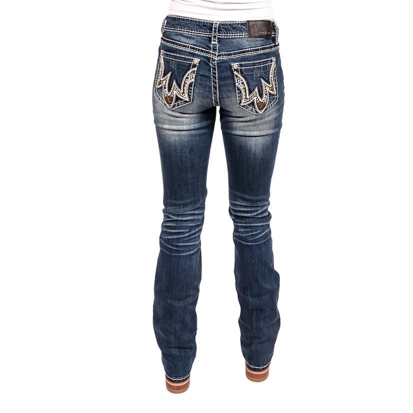 Grace In La Womens Buck Stitching Jeans