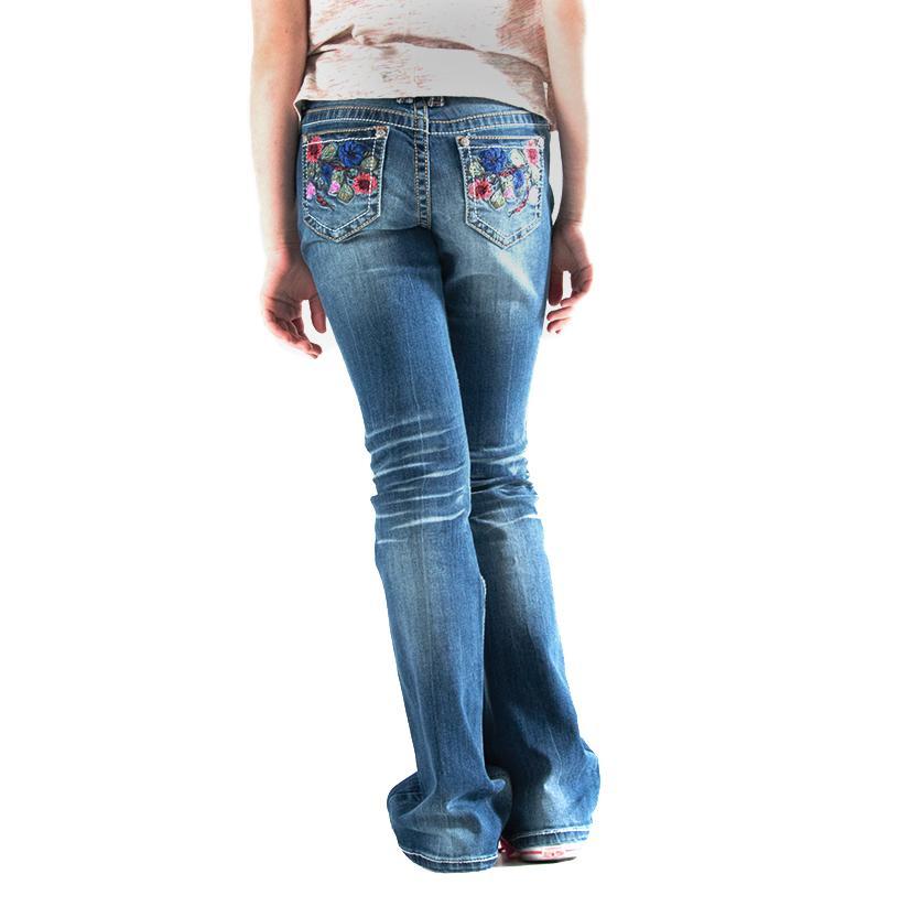 Grace In La Girls Asian Floral Jeans
