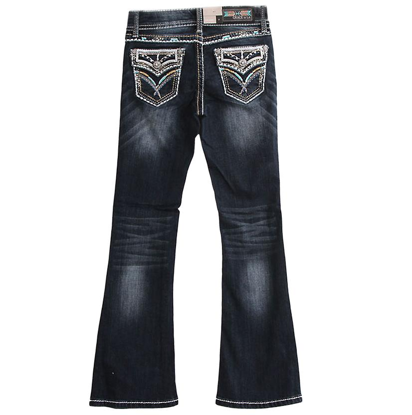 Grace In La Jeans With Teal Stitching