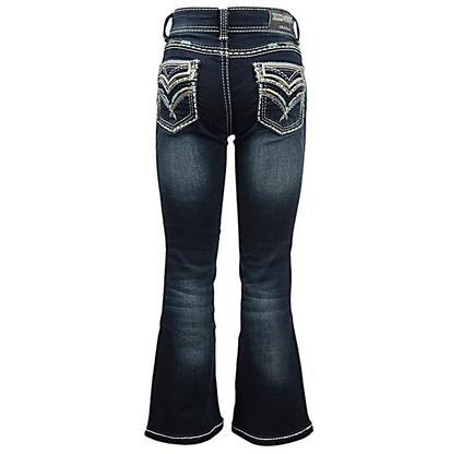 Grace In LA Girls Jeans with Teal Stitching