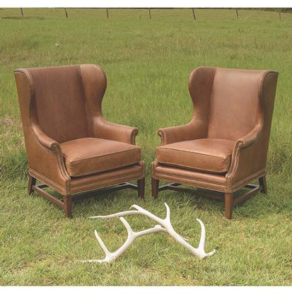 Saddle Leather Wing Back Chairs