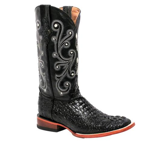 Ferrini Mens Black Caiman Crocodile Print Cowboy Boots