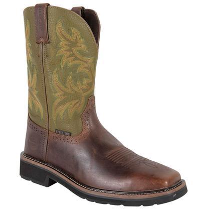 Justin Waxy Brown Cowhide Stampede Steel Toe Work Boots