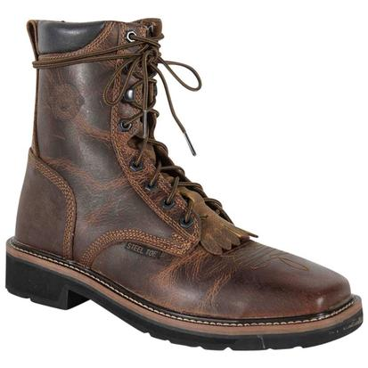 Justin Men's Rugged Tan Steel Toe Lace Up Work Boot