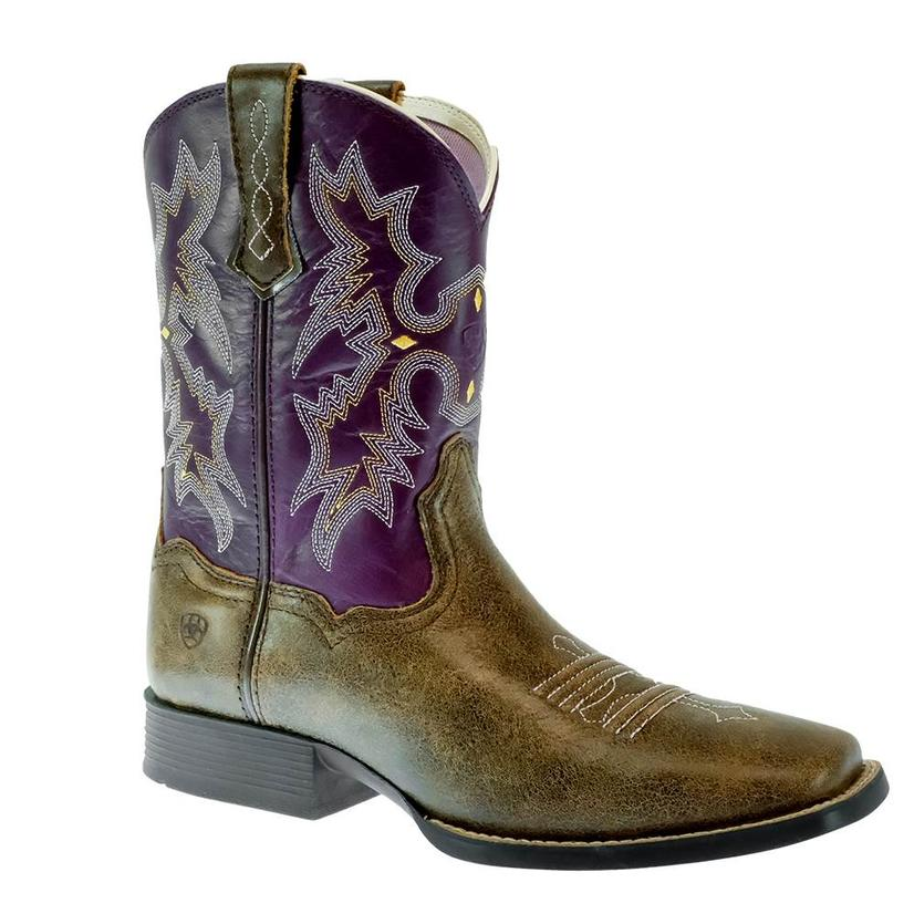 Ariat Youth's   Brown With Pink Stitching Tombstone Boots