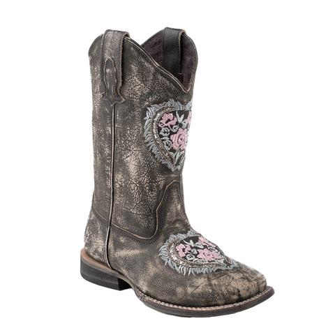 Roper Floral Heart Boot