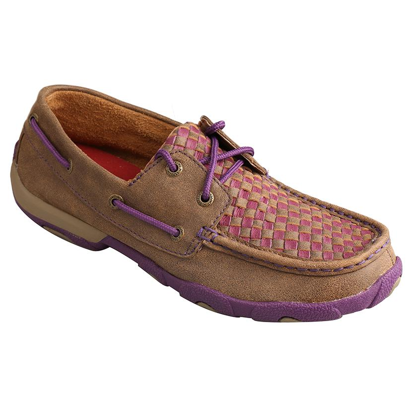 Twisted X Womens Bomber And Purple Check Driving Mocs