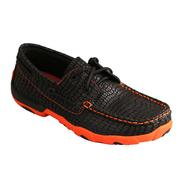 Twisted X Ladies' Driving Mocs Black with Neon Orange