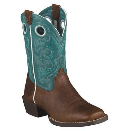 Ariat Kids' Crossfire Oiled Brown and Turquoise Cowboy Boots