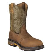 Ariat Workhog Pull On Men's Aged Bark & Army Green Composite Toe Boots