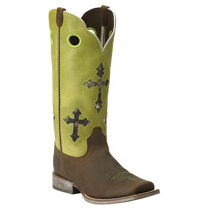 Ariat Kids ' Ranchero Lime Green Camo Inlay Boots