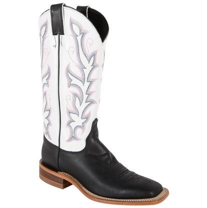 Justin Women's Bent Rail Black & White Burnished Calf Cowboy Boots