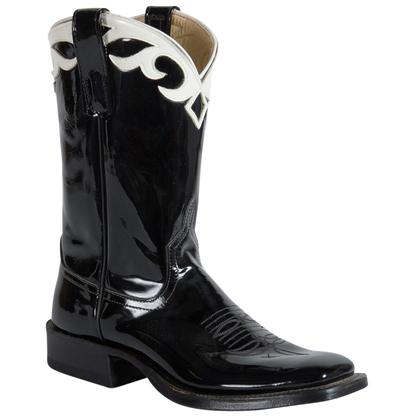 Anderson Bean Women's Black Patent Boots w/ White Collar