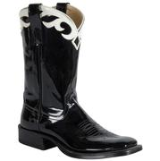 Anderson Bean Women's Black Patent Boots W/White Collar